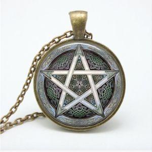 Jewelry - Bronze Wicca Star Pentagram Cabochon Necklace